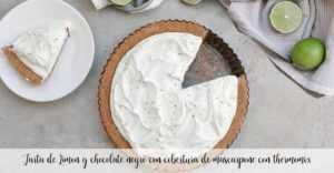Zitronen-dunkler Schokoladenkuchen mit Mascarpone überbacken mit Thermomix